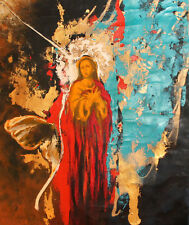 Vintage surrealist religious oil painting