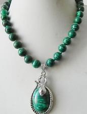 10mm Green MALACHITE GEMSTONE Pendant Necklace 18'' AAA