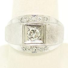 Men's Vintage 14k White Gold 0.65ctw Trans. & Single Cut Diamond Wide Band Ring