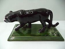 BLACK PANTHER TOOTHPICK HOLDER PALISSY MAJOLICA PORTUGUESE CALDAS SIGNED