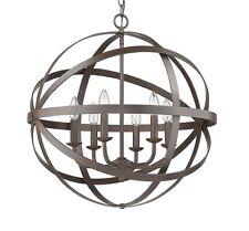 "Geometric 23"" 6 Light Modern Sphere Orb Chandelier, Bronze Globe Pendant Rustic"