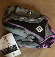"New listing Wilson Flash Left Hand Throw baseball/softball glove. 12"" NEW. Black/grey/purple"