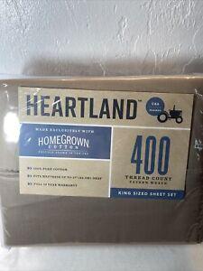 Brand New TAUPE 4pc Heartland 400 TC 100% HomeGrown Cotton Sateen KING Sheet Set