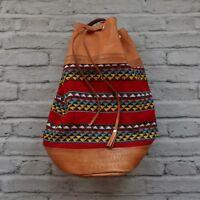 Vintage Tooled Leather Drawstring Backpack Bag