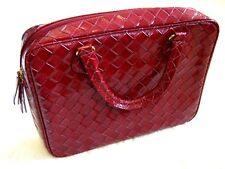 Estee Lauder Red Patent weave Make Up Vanity Travel Case Laptop iPad Handbag