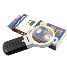 Foldable Reading Magnifier Magnifying Glass Lens Loupe with Folding Stand & LED