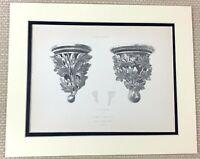 1842 Antico Stampa Architettonico Intagliato Stone Corbel Staffe San Stephens