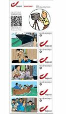 TINTIN KUIFJE 5 TIMBRES STAMPS POSTZEGELS MARINE écran MOVIE FILM 5 Briefmarken