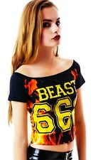B020 Too Fast Rat Baby It's All Good Beast 666 Flames Punk Rock Goth Crop Top
