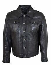 Mens Cowhide Leather Trucker Jacket American Western Denim Levis Style Coat