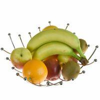 New Heavy Duty Metal Chrome lattice Fruit Bowl Kitchen Storage Rack Stand Basket