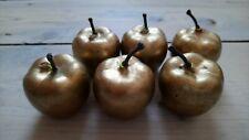 Vintage style Gold Colour Apples Ornaments Set of 6