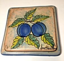 Italian Terracotta Tile Fratantoni Vietri Hand Painted Plums Fruit Trivet Plaque