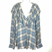 Mossimo Supply Co Womens Ruffled Flannel Top XXL 2XL Blue Plaid Button Up Hi Lo