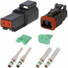 DT Enhanced Seal 2 Pin Black Connector Kit w/ 14 AWG Solid Contacts