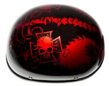 Shiny Red Motorcycle Helmet with Horned Skeletons & Chopper Cross-Size XX-Large