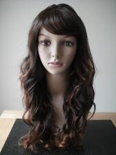 Cosplay Women Dark Brown Blonde Long Curly Natural Wavy Full Head Hair Wig gift