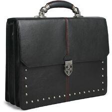 Leather Briefcase Men's Business Laptop Bag Flap Over Vintage Tote Skull Handle
