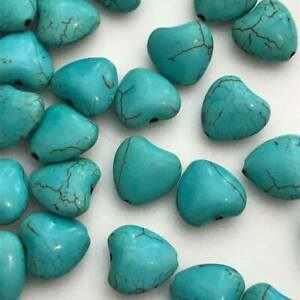 20pcs Turquoise heart shape beads synthetic howlite 11mmx12mm