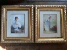 Lot of 2 Child Angel Photos/ Prints for Nursery Decor. Gold Framed, Matted