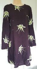 H&M Purple Floral Print Tunic Smock Dress Size 10 EU 38 Hippy Boho Vtg Style 70s