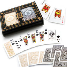 KEM Black/Gold Double Deck Wide Jumbo Index 100% Plastic Poker Playing Cards