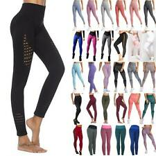Womens Breathable Leggings Yoga Trousers Gym High Waist Mesh Sport Elastic Pants