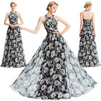 VINTAGE FLORAL SEXY Long Evening Gown Formal Bridesmaid Wedding PROM Party Dress