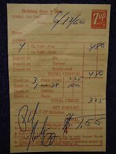 Rare 1960 Madison, WI Vendor RECEIPT ~ SEVEN UP BOTTLING Co 7UP 7-UP Handwritten
