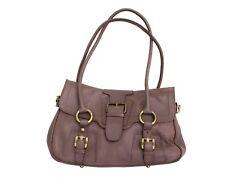 STUART WEITZMAN Lambskin Mocha Shoulder Bag with Brass Buckle Hardware