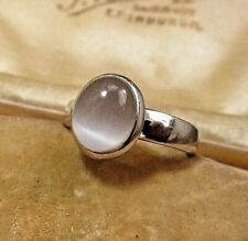 BEAUTIFUL STERLING SILVER  CATS EYE  MOONSTONE RING SIZE O & A HALF