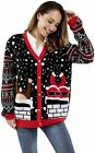 Unisex Women's Ugly Christmas Cardigan Sweater Knitted Gingerbread Santa Reindee