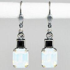 Ohrringe Ohrhänger Silber Altsilber Swarovski Kristall  Rechteck White Opal weiß