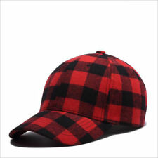 Cotton Black Red Plaid Women GrilsTeenagers Baseball Cap Sun Hat Crooked Brim