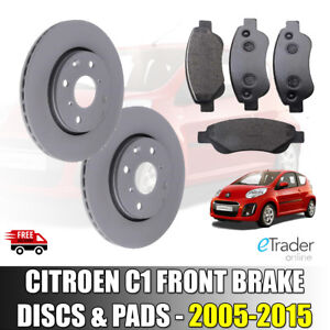 FRONT BRAKE DISCS AND BRAKE PADS CITROEN C1 1.0 2005 - 2015 DISC x 2 PAD SET x 4