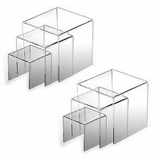 2pk Clear Acrylic Display Riser Case Display Jewelry Retail Stands Easels Racks