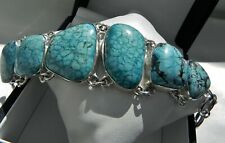 🌠CHUNKY🌠 57g sterling silver 925 blue turquoise matrix gem adjustable bracelet