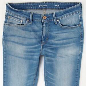 Mujers Levi's SLIGHT CURVE SLIM Ajustado Recto Elástico Azul Jeans W29 L32