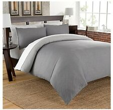 Cotton Chambray Reversible King Duvet Cover Set 200 Thread Count Charcoal Gray