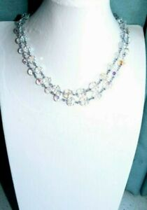 JEWELLERY BEAUTIFUL VINTAGE MULTI FACETED AURORA GLASS CRYSTAL BEAD NECKLACE 912