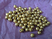 20 pcs 8mm gold tone carved BRASS stardust beads jewellery making findings