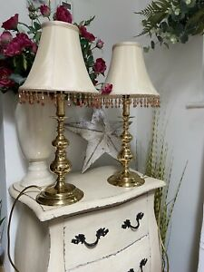 Pair Vintage Traditional Polished Brass Metal Table Lamps Cream Beaded Shades