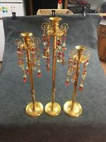 Classic Large Antique Brass Candle Holders Empire Tassels Jeweled Staging T