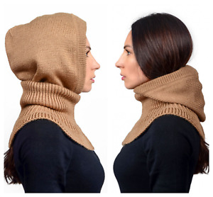 Warm Soft Natural Cable Knit 80% Wool blend 3-in-1 Hooded scarf