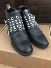 Zara Vintage Studded Black Biker Boots Size 37/6.5