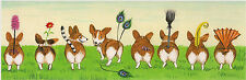 12X4 Print Of Painting Ryta Pembroke Welsh Corgi Folk Art Whimsical Fantasy Dogs
