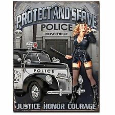 Protect And Serve Sexy Police Pin Up Woman Hot Rod Car Gas Oil Metal Tin Sign