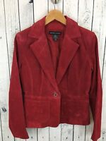 New York & Company Red Genuine Leather Suede Jacket NWT Women's Size 4