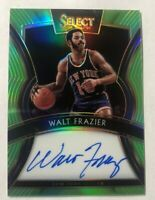 2019-20 Panini Select Walt Frazier Neon Green Prizm Signature On Card Auto #/99