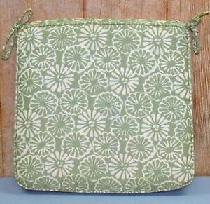 """Outdoor Patio Seat Pad ~ Green Yellow Floral ~ 20"""" x 19.5"""" x 3"""" **NEW**"""